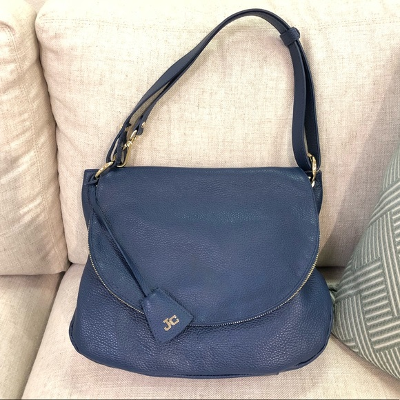 308d85c0c55b jacky Celine Handbags - Jacky Celine navy blue pebbled leather flap bag